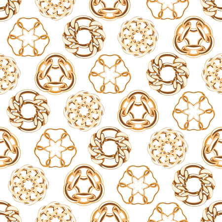 brooch: Abstract golden chains circles seamless background. Luxury jewelry pattern illustration.