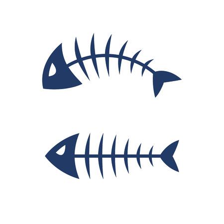 魚の骨スケルトン シンボル ベクトル アイコンをデザインします。