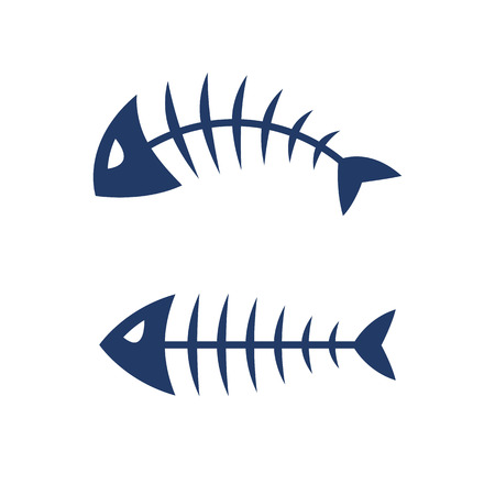 Fish bone skeleton symbol vector icon design. Иллюстрация
