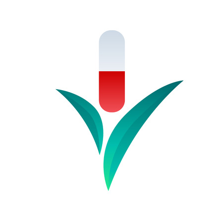 supplements: Pill capsule with leaves icon symbol design. Dietary supplement healthcare herbal medicine drug. Illustration