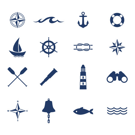 bussola: Set di icone nautico mare oceano vela. Bussola di ancoraggio campana ruota simboli faro pesce.