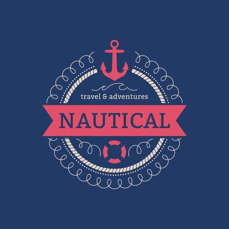 sailing: Sailing sea ocean navy nautical symbol stamp retro style. Water travel design illustration. Illustration
