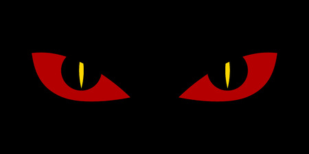 spooky eyes: Evil scary eyes - demon snake devil nightmare illustration. Flat style.