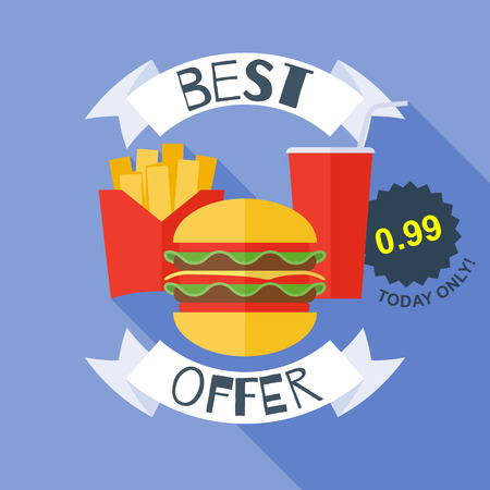 cocacola: Fast food poster illustration - burger cola fries. Flat style.