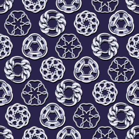 silver jewelry: Abstract silver chains circles seamless background. Luxury jewelry pattern illustration.