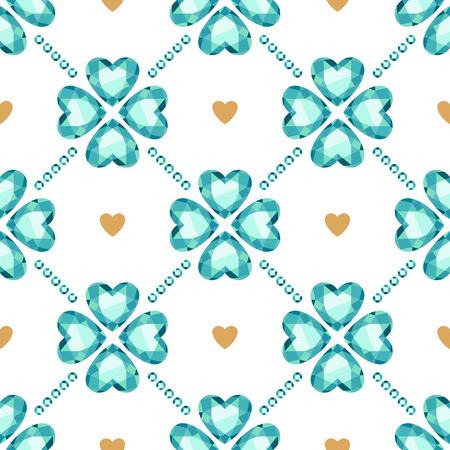 lucky clover: Green gemstones lucky clover and golden hearts seamless pattern.