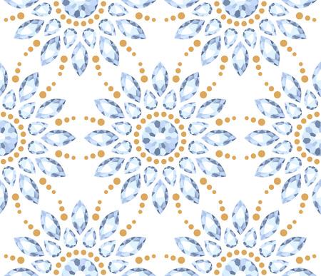 gemstones: Colorful elegant jewelry gemstones round ornaments rosettes seamless pattern.