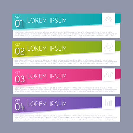 paper tag: Modern infographics options banner illustration. Business progress steps template background.