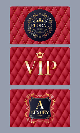 members: VIP member discount cards with abstract red quilted background. Elegant beautiful classic design with luxury template glamour calligraphic monogram ornament labels.