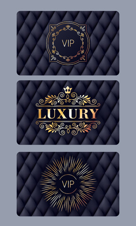 VIP member discount cards with abstract quilted background. Elegant beautiful classic design. Иллюстрация