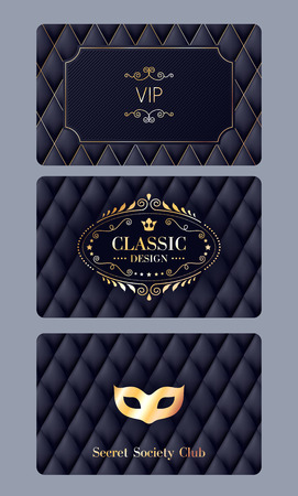 VIP member discount cards with abstract quilted background. Elegant beautiful classic design. Elegant beautiful classic design with luxury template glamour calligraphic monogram ornament labels.