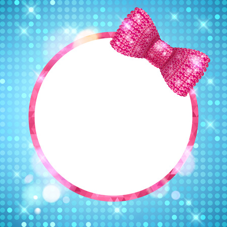 cute border: Glitter glamour shine background round frame with mosaic border and pink sequin bow. Girly sparkling template for greeting card design. Illustration