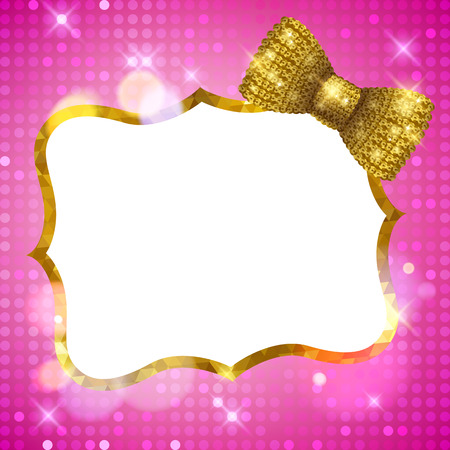 Glitter glamour shine background frame with mosaic border and golden sequin bow. Girly sparkling template for greeting card design.