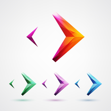 Colorful arrow symbol icon design element vector illustration. Glass crystal structure.