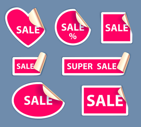 Set of sale stickers - golden foil reverse side. Peeled off paper labels. Heart, circle, square, oval.