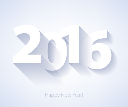 kalendarz: Szczęśliwego Nowego Roku 2016 kolorowe symbolem. Ilustracja projekt Kalendarz typografii wektorowych. Papier biały design z cieniami.
