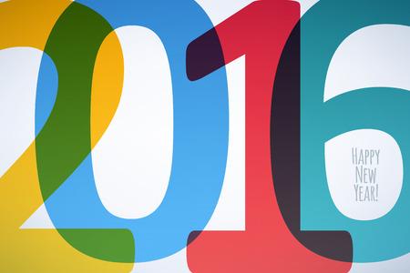 nowy: Szczęśliwego Nowego Roku 2016 kolorowe symbolem. Ilustracja projekt Kalendarz typografii wektorowych. Nakładające się cyfry zaprojektować z cieniami. Pocztówka projekt. Ilustracja