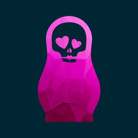 matrioshka: Russian doll with funny skull in love pink icon silhouette mosaic faceted vector illustration.