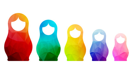 russian: Russian dolls icons set silhouette mosaic faceted vector illustration.