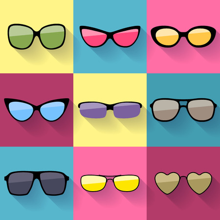 everyday: Set of different styles sunglasses with colorful lenses icons. Illustration