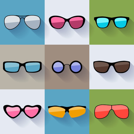design drawing: Set of different styles sunglasses with colorful lenses icons. Illustration
