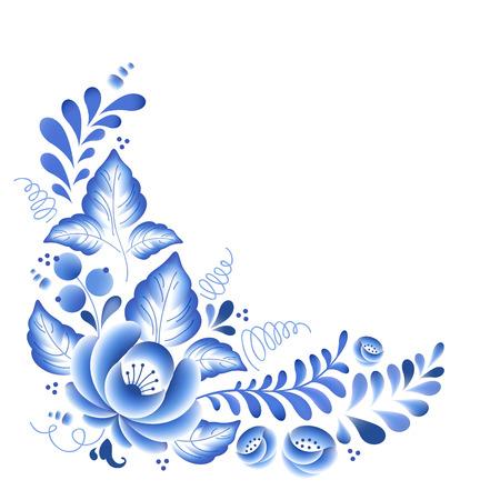 flores chinas: Flores de color azul porcelana ruso ornamento hermoso popular floral. Ilustración del vector. Decoración Composición de la esquina.