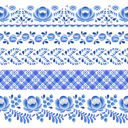 Blue flowers floral russian porcelain beautiful folk ornament. Vector illustration. Seamless horizontal borders. Imagens - 43873421