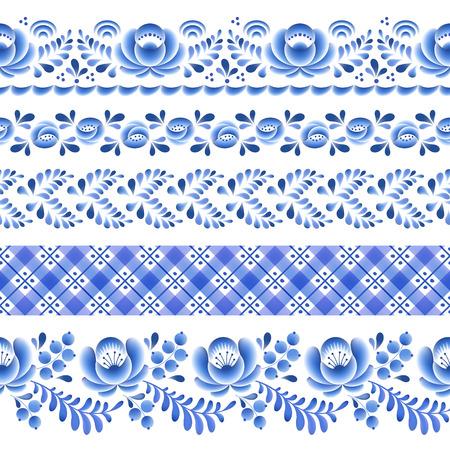 russian pattern: Blue flowers floral russian porcelain beautiful folk ornament. Vector illustration. Seamless horizontal borders.