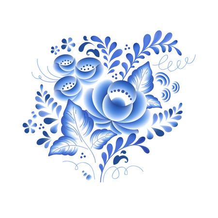 blue design: Blue flowers floral russian porcelain beautiful folk ornament. Vector illustration. Decorative composition. Illustration