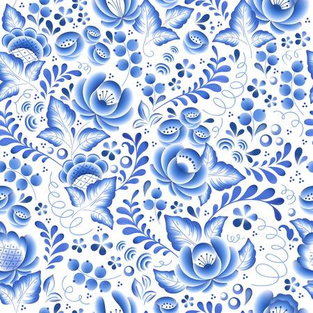 Blue flowers floral russian porcelain beautiful folk ornament. Vector illustration. Seamless pattern background.