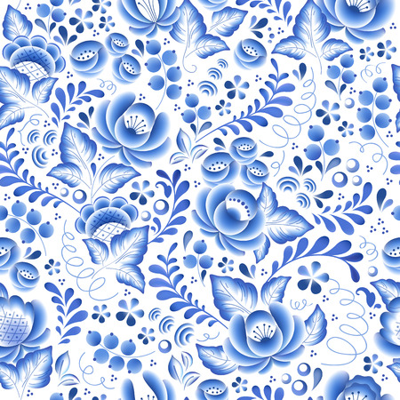 Blue flowers floral russian porcelain beautiful folk ornament. Vector illustration. Seamless pattern background.