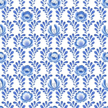 porcelain: Blue flowers floral russian porcelain beautiful folk ornament. Vector illustration. Seamless pattern background.