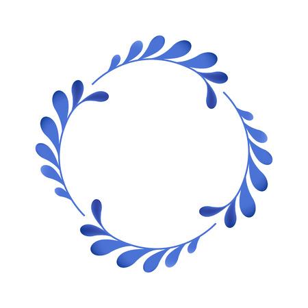 Blauwe bloemen Russisch porselein prachtige folk ornament. Vector illustratie. Rond frame.