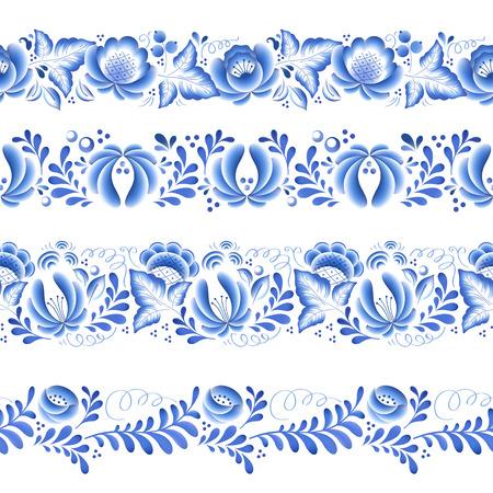 gzhel: Blue flowers floral russian porcelain beautiful folk ornament. Vector illustration. Seamless horizontal borders.