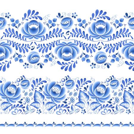Blue flowers floral russian porcelain beautiful folk ornament. Vector illustration. Seamless horizontal borders.