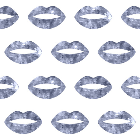 hot lips: Silver woman lips seamless pattern. Mosaic faceted background vewctor illustration.