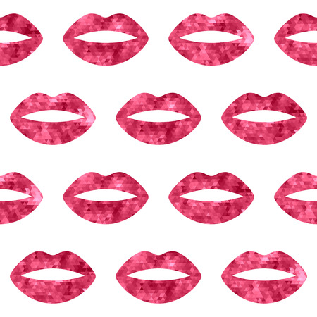 hot lips: Red woman lips seamless pattern. Mosaic faceted background vewctor illustration.