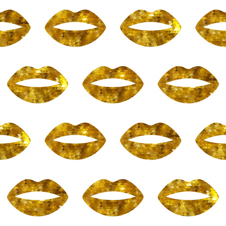 Golden woman lips seamless pattern. Mosaic faceted background vewctor illustration.