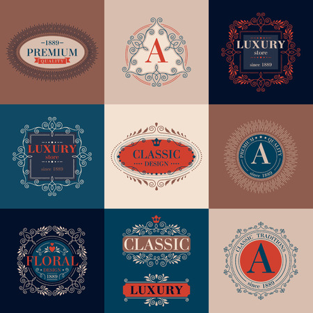 boutique hotel: Luxury template glamour calligraphic monogram ornament colorful labels set. Good for restaurant store shop boutique hotel heraldic jewelry fashion. Vector illustration.