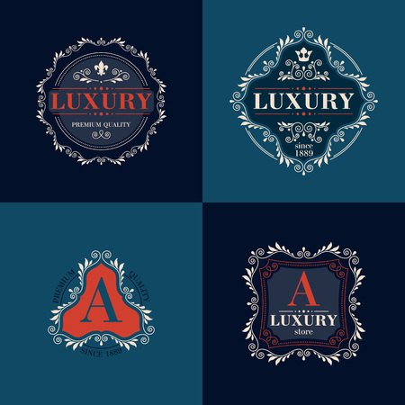 graceful: Luxury template glamour calligraphic monogram ornament colorful labels set. Good for restaurant store shop boutique hotel heraldic jewelry fashion. Vector illustration.