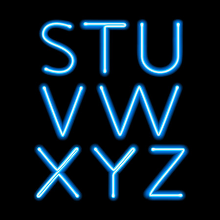 Blue neon light glowing letters set. Abc alphabet text symbols vector illustration. 向量圖像