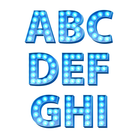 illuminated: Blue bulbs lamps light glowing retro letters set. Abc alphabet text symbols vector illustration.