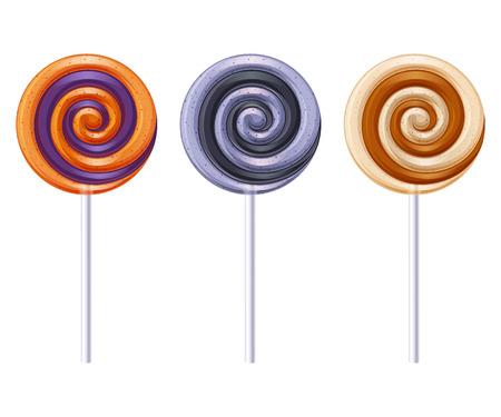 licorice sticks: Colorful halloween party round spiral candies lollipops set. Vector illustration. Illustration