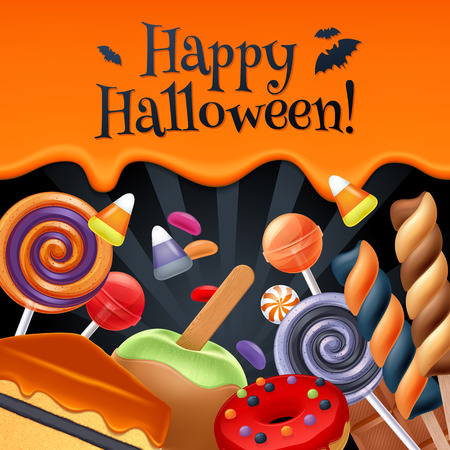 Halloween sweets colorful party background. Lollipop candy corn cake caramel apple jelly bean donut chocolate, good for holiday design. Dripping orange background with greetings.