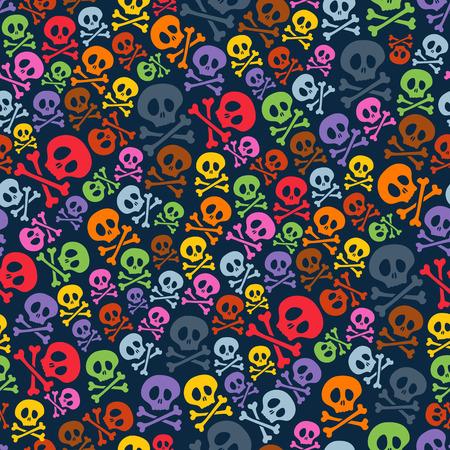 esqueleto: Cráneos coloridos lindos y la bandera pirata de fisuras. Halloween de fondo de la ilustración vectorial.