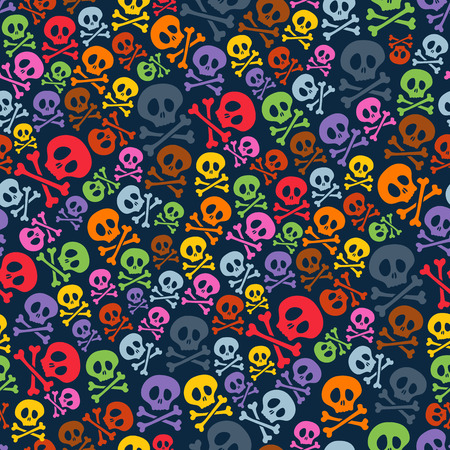 skull background: Cute colorful skulls and crossbones seamless pattern. Halloween background vector illustration.