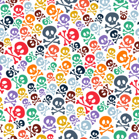 Cute colorful skulls and crossbones seamless pattern. Halloween background vector illustration.