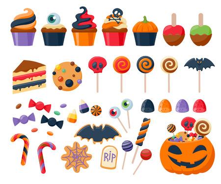 dulces: Fiesta de Halloween dulces de colores iconos conjunto ilustración vectorial. Magdalenas Lollipops caramelos galletas dulces de la torta de maíz manzana de caramelo, bueno para el diseño de fiesta.