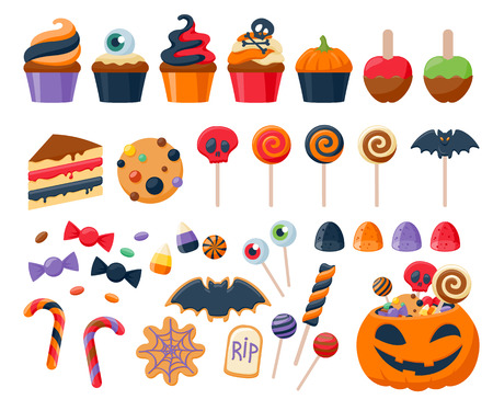 Halloween party colorful sweets icons set vector illustration.  Cupcakes lollipops jelly beans cookies cake candies caramel apple corn, good for holiday design.