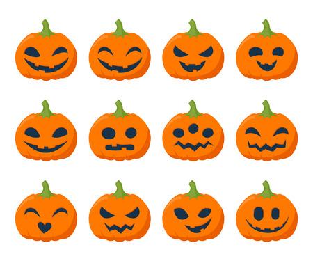 Calabazas divertido de Halloween conjunto ilustración vectorial. Estilo plano simple.